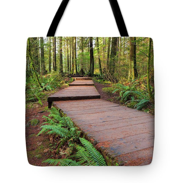 Hiking Trail Wood Walkway In Lynn Canyon Park Tote Bag