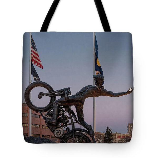 Tote Bag featuring the photograph Hill Climber Catches The Moon by Randy Scherkenbach