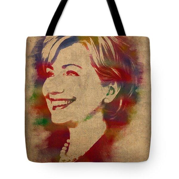 Hillary Rodham Clinton Watercolor Portrait Tote Bag