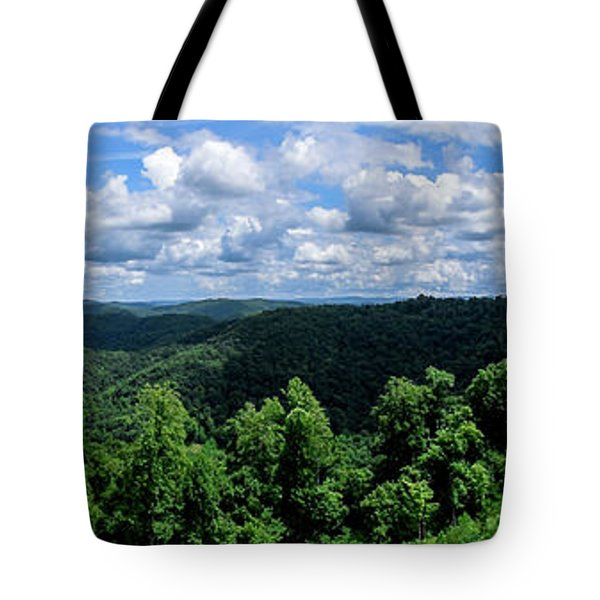 Tote Bag featuring the photograph Hills And Clouds by Lester Plank