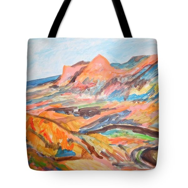 Hills Flowing Down To The Beach Tote Bag by Esther Newman-Cohen
