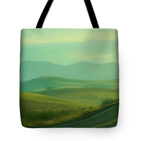 Hills In The Early Morning Light Digital Impressionist Art Tote Bag