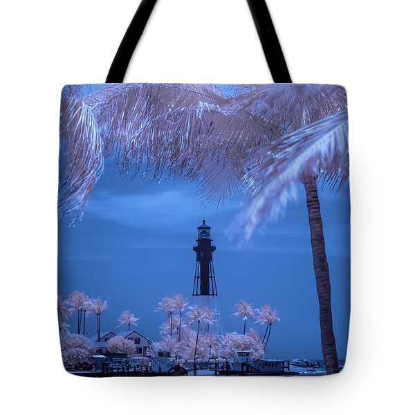 Tote Bag featuring the photograph Hillsboro Inlet Lighthouse Infrared by Louis Ferreira