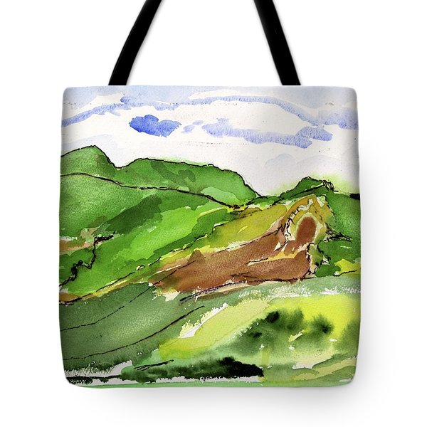 Hillside And Clouds Tote Bag