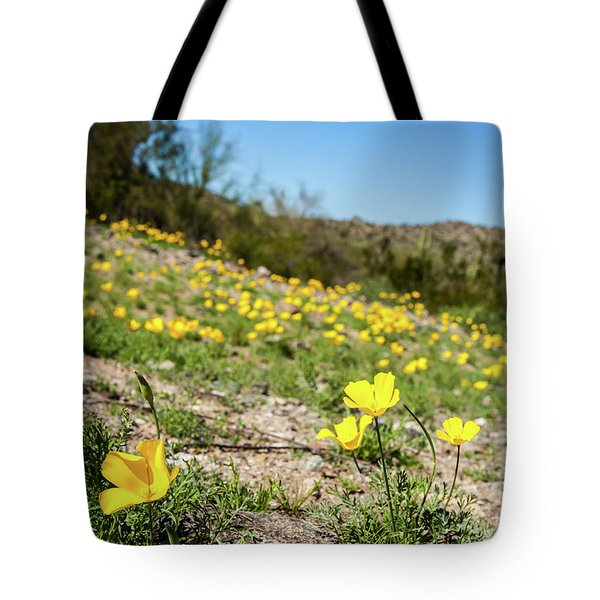 Tote Bag featuring the photograph Hillside Flowers by Ed Cilley