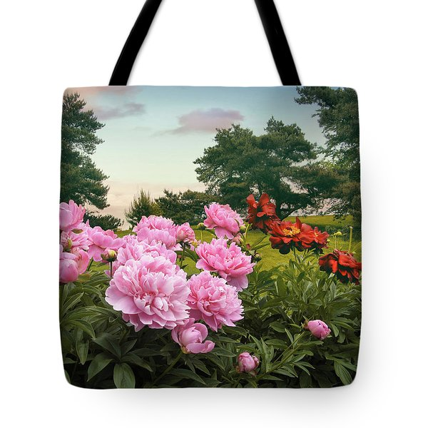 Hillside Peonies Tote Bag by Jessica Jenney