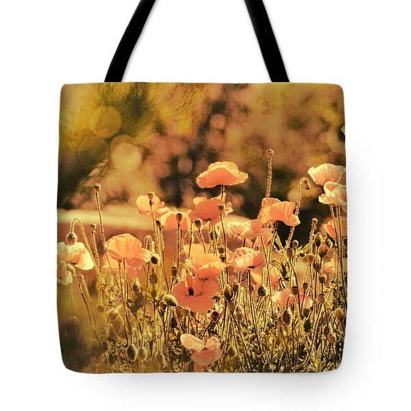 Hillside Poppies And Sunset Tote Bag