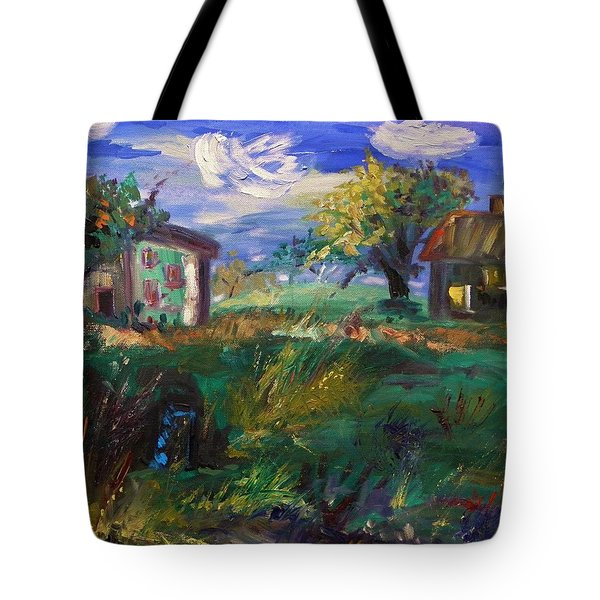 Tote Bag featuring the painting Hillside Tranquility by Mary Carol Williams