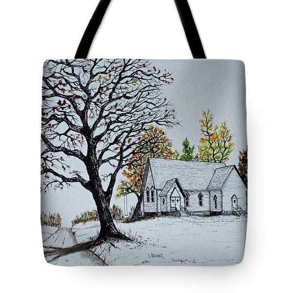 Tote Bag featuring the painting Hilltop Church by Jack G  Brauer