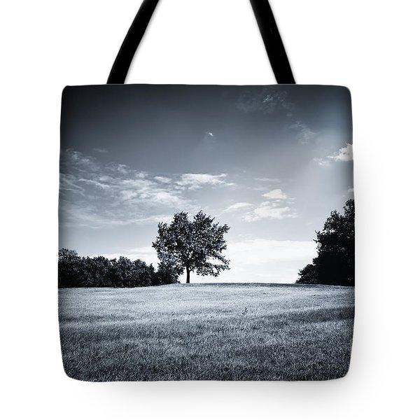Hilly Black White Landscape Tote Bag