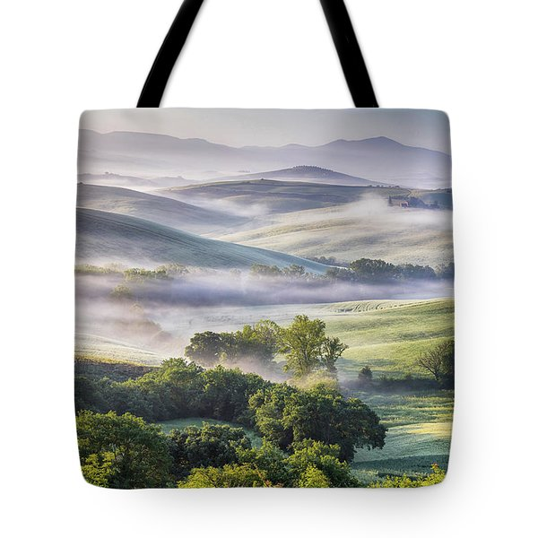 Hilly Tuscany Valley At Morning Tote Bag by Evgeni Dinev