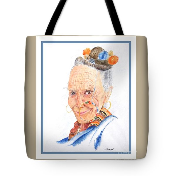 Himalayan Smile Lines -- Portrait Of Old Asian Woman Tote Bag