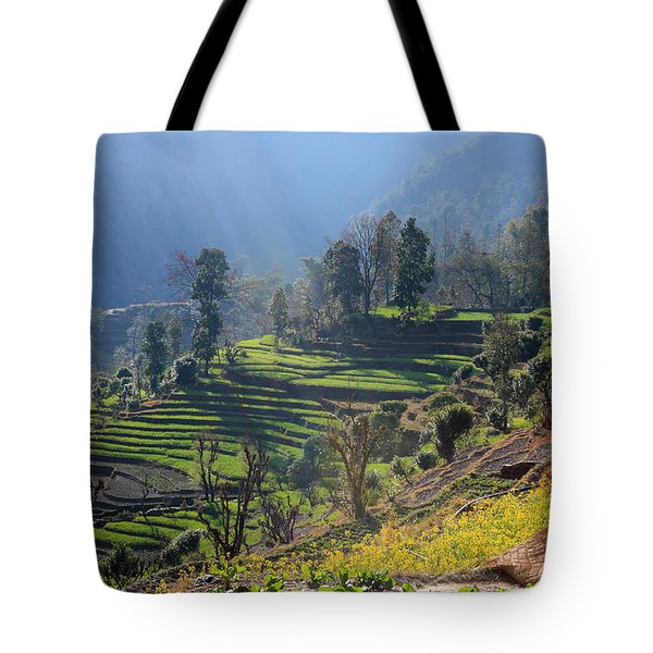 Himalayan Stepped Fields - Nepal Tote Bag by Aidan Moran