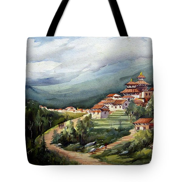 Tote Bag featuring the painting Himalayan Village  by Samiran Sarkar
