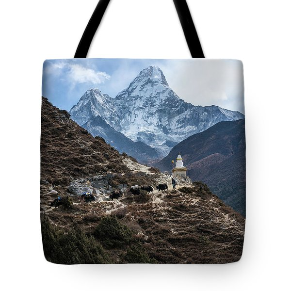 Tote Bag featuring the photograph Himalayan Yak Train by Mike Reid