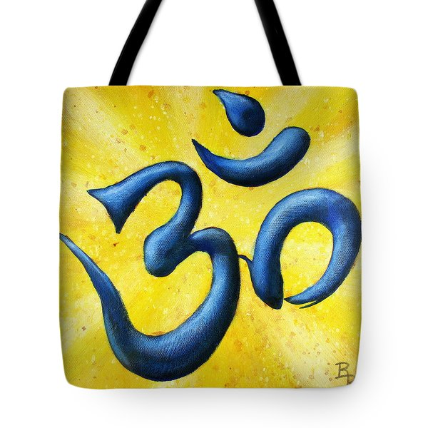 Tote Bag featuring the painting Hindu Om Symbol Art by Bob Baker