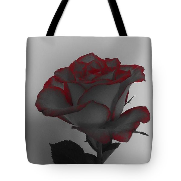 Hints Of Red- Single Rose Tote Bag
