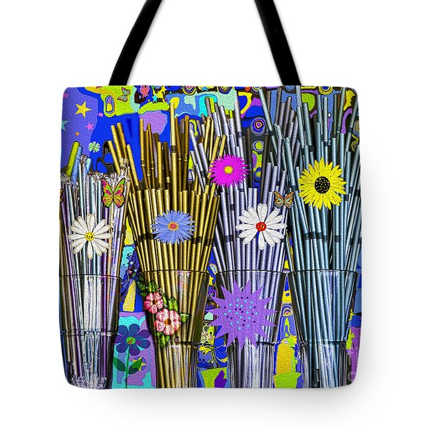 Tote Bag featuring the digital art Hippie Hippie Straws by Eleni Mac Synodinos