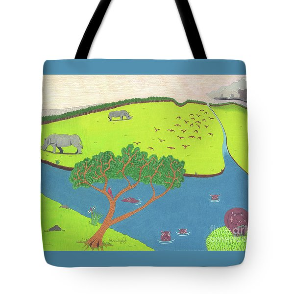 Tote Bag featuring the drawing Hippo Awareness by John Wiegand