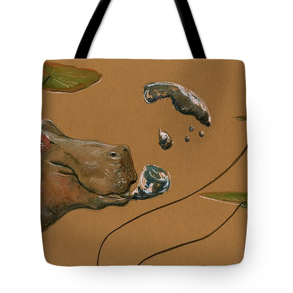 Hippo Bubbles Tote Bag by Juan  Bosco