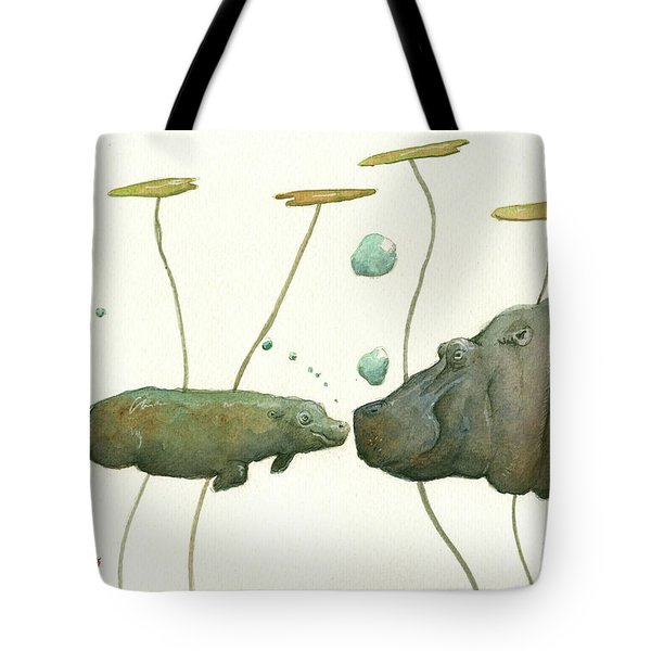 Hippo Mom With Babyv Tote Bag