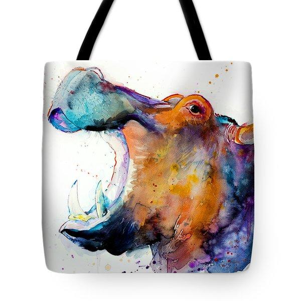 Hippo Tote Bag by Slavi Aladjova