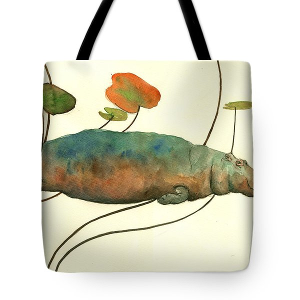 Hippo Swimming With Water Lilies Tote Bag by Juan  Bosco