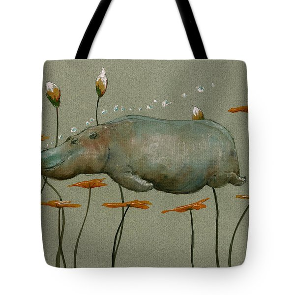 Hippo Underwater Tote Bag by Juan  Bosco