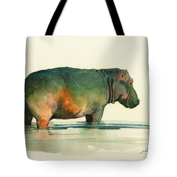 Hippo Watercolor Painting Tote Bag by Juan  Bosco