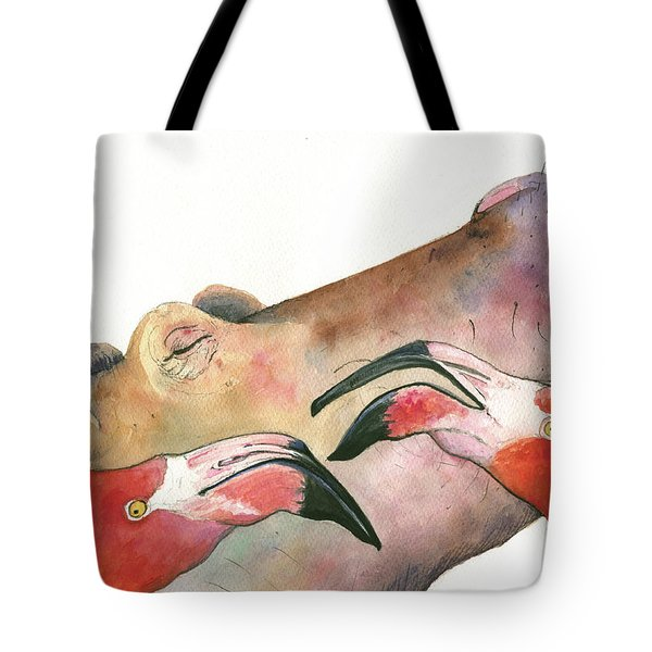 Hippo With Flamingos Heads Tote Bag