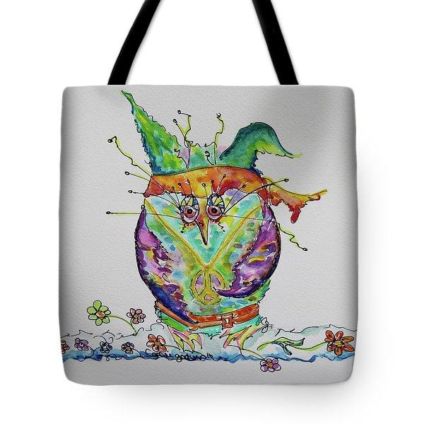 Hippy Owl- Vertical Format Tote Bag