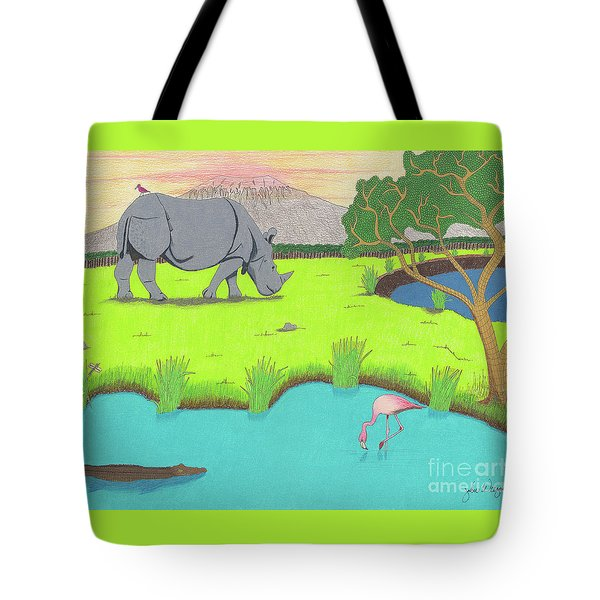 Tote Bag featuring the drawing His Backward Glance by John Wiegand