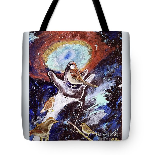 Tote Bag featuring the painting His Eye Is On The Sparrow by Jennifer Page