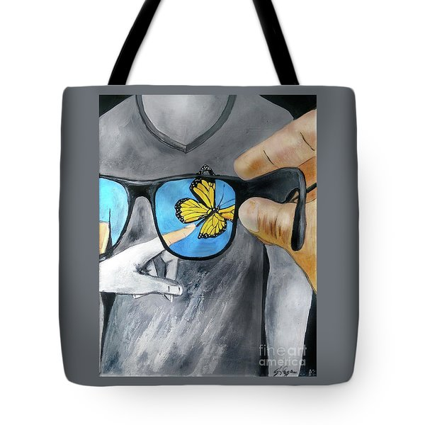 Tote Bag featuring the painting His Perspective by Jennifer Page