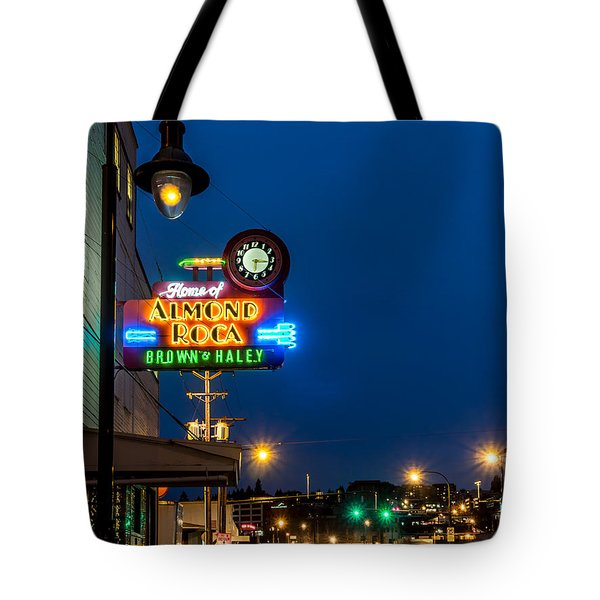 Historic Almond Roca Co. During Blue Hour Tote Bag
