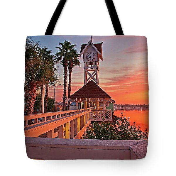Historic Bridge Street Pier Sunrise Tote Bag