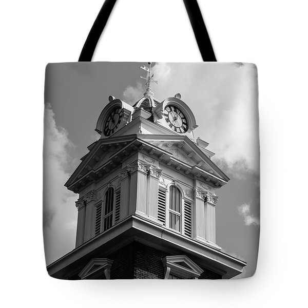 Tote Bag featuring the photograph Historic Courthouse Steeple In Bw by Doug Camara