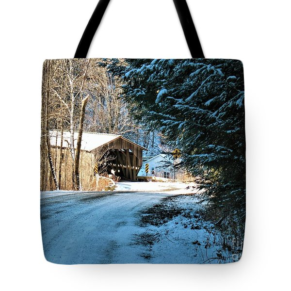 Historic Grist Mill Covered Bridge Tote Bag
