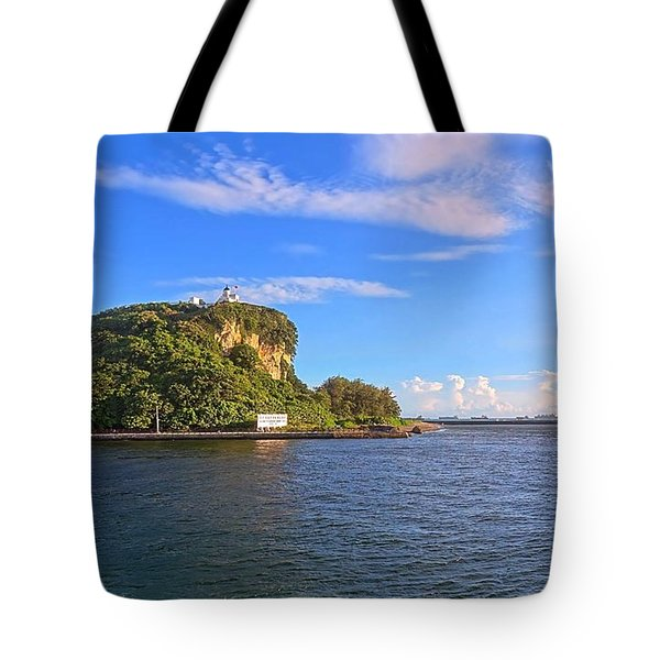 Tote Bag featuring the photograph Historic Lighthouse On Chijin Island by Yali Shi
