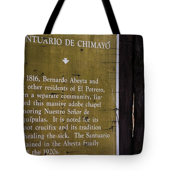 Historic Marker For The Santuario Tote Bag