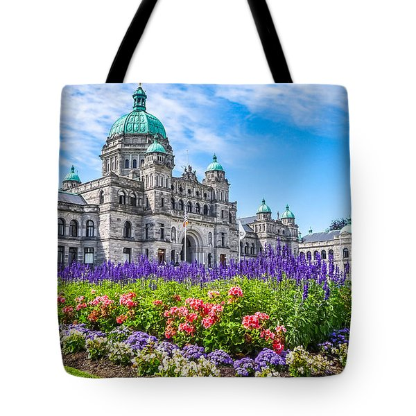 Historic Parliament Building In Victoria With Colorful Flowers, Bc, Canada Tote Bag
