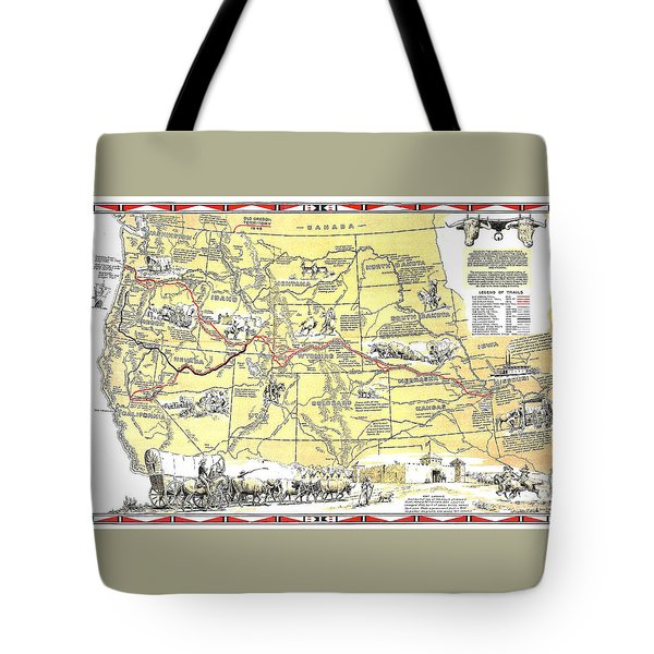 Historic Pioneer Trails Map 1843-1866 Tote Bag