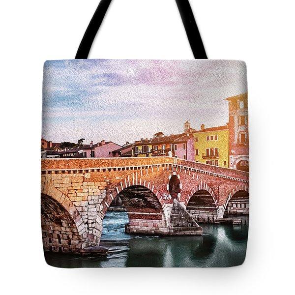 Historic Ponte Pietra Verona Tote Bag