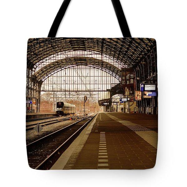 Historic Railway Station In Haarlem The Netherland Tote Bag by Yvon van der Wijk
