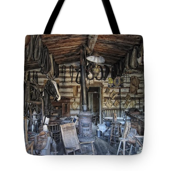 Historic Saddlery Shop - Montana Territory Tote Bag by Daniel Hagerman