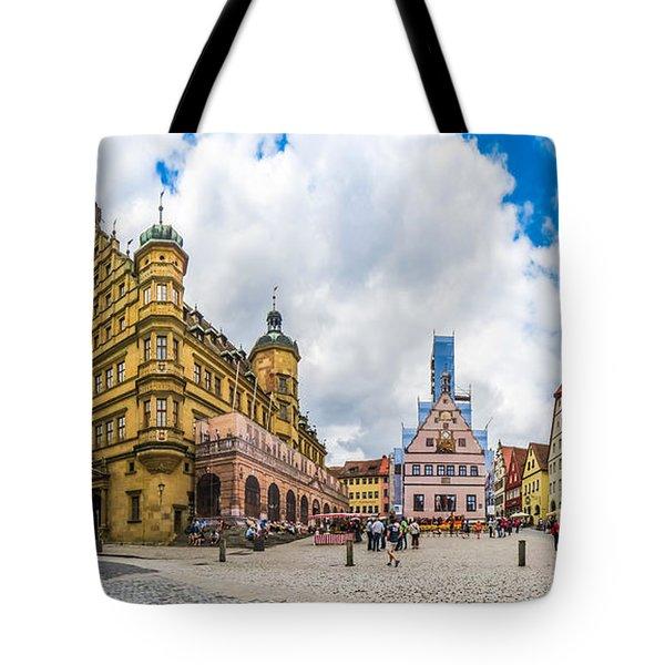 Historic Townsquare Of Rothenburg Ob Der Tauber, Franconia, Bava Tote Bag