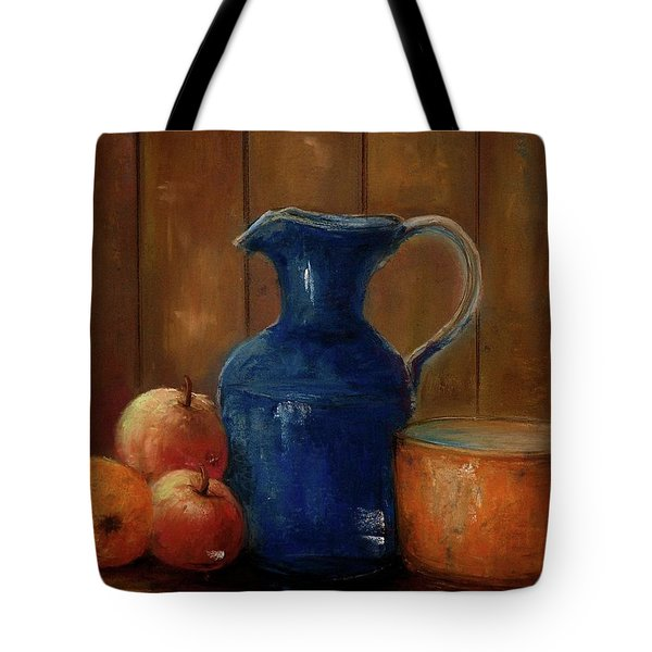 Tote Bag featuring the painting Historical Jamestown Virginia Blue Colbalt Pitcher  by Bernadette Krupa