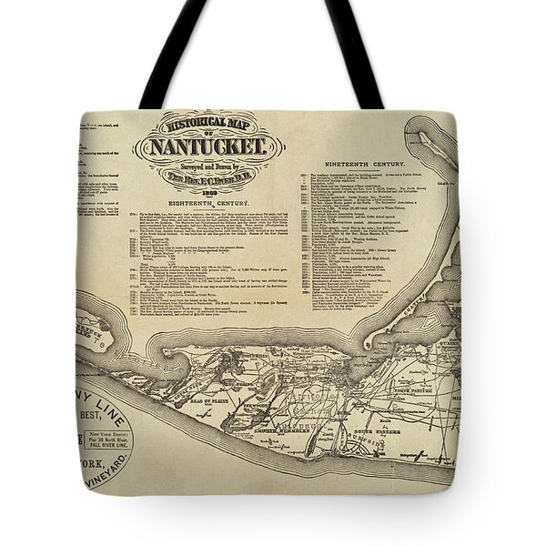 Historical Map Of Nantucket From 1602-1886 Tote Bag