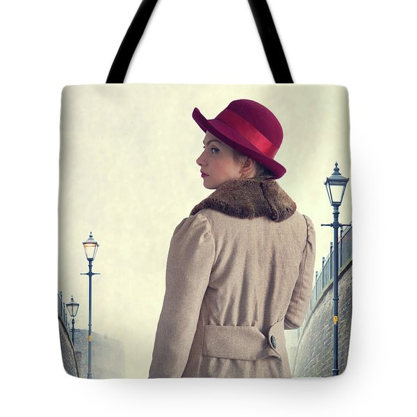 Historical Woman In An Overcoat And Red Hat Tote Bag