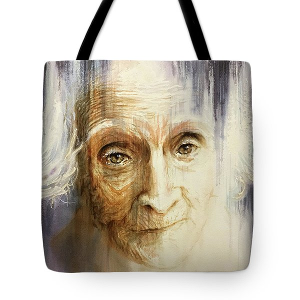Tote Bag featuring the painting Histories And Memories Of Ancestral Light 3 by J- J- Espinoza
